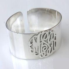 How Lovely! Monogram Sterling Cuff Bracelet