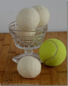 Instructions to make a set of Dryer Balls. Specifially, Felted Wool Dryer Balls.  Once you do, you will never have to buy over-scented dryer sheets or bulky bottles of fabric softener again.  Dryer Balls will also reduce static cling and cut your clothes drying time significantly {25-50%}.