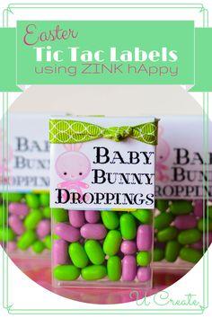 Easter Tic Tac Labels using ZINK hAppy - U create