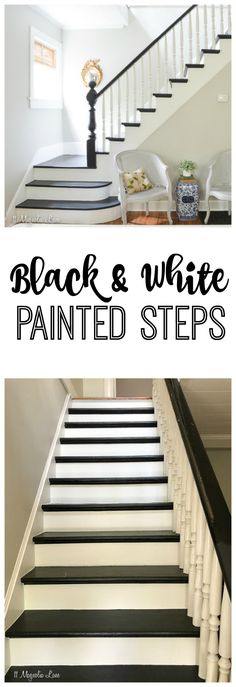 Magnolia Cottage: Black and White Painted Steps – 11 Magnolia Lane White Stair Risers, Black Stair Railing, Black Staircase, Wood Staircase, Staircase Remodel, Staircase Makeover, Staircase Design, Modern Staircase, Black Painted Stairs