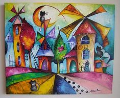 Items similar to Magic Windmills, Original Acrylic Painting City Cats Moon Street Colorful Nursery Art Fantasy Room Decor Children Kids Big Canvas 24 in on Etsy, Painting Lessons, Painting For Kids, Art Lessons, Art Drawings For Kids, Art For Kids, Oil Painting Abstract, Watercolor Art, Windmill Art, Windmill Drawing