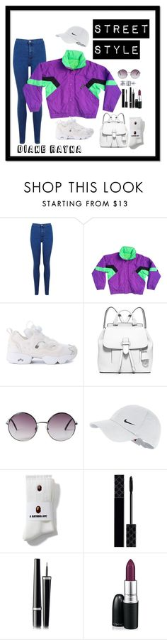 """""""Street Style #262"""" by dianerayna ❤ liked on Polyvore featuring Miss Selfridge, Reebok, MICHAEL Michael Kors, Monki, NIKE, Gucci, Chanel, MAC Cosmetics, BERRICLE and vintage"""