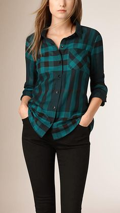 Dark teal Check Cotton Flannel Shirt Image 1 - Dark Shirt - Ideas of Dark Shirt - Dark teal Check Cotton Flannel Shirt Image 1 Teal Outfits, Casual Outfits, Fashion Outfits, Fashion Fashion, Korean Fashion, Teal Shirt, Kurta Designs, Blouse Designs, New Fashion Trends