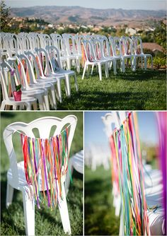 This would be perfect for a gay wedding but not plastic chairs. in your colors? i have no idea what kind of chairs they use for outside, but it could look kinda groovy with the willowy backdrop