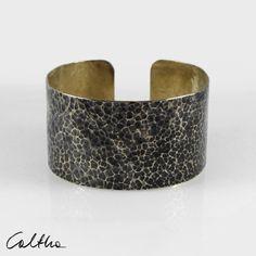 Lava - big unisex brass bracelet, adjustable gold colored bangle for man and woman, minimalist jewelry, simple wide irregular bracelet