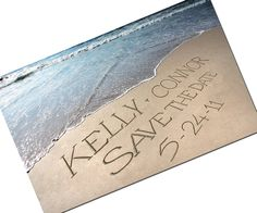 DIY Beach Wedding Save the Date LOW TIDE Photo cards personalized with your name written in the sand. $14.99, via Etsy.