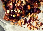 Roast almond, peanut and pistachio cranberry nut brittle