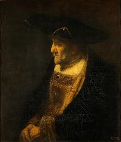 Portrait of a man in the hat decorated with pearls by follower of Rembrandt, before 1667 (PD-art/old), Gemäldegalerie Alte Meister, from the collection of John II Casimir Vasa