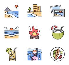34 premium vector icons of Summer Holiday designed by max. Design Ios, Icon Design, Flat Design, Homemade Stickers, City Icon, Holiday Icon, Summer Icon, Travel Icon, Instagram Highlight Icons