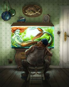 Mer folk and faries on pinterest mermaids merfolk and for Mermaid fish tank