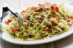 Napa Cabbage Recipes, Cabbage And Bacon, Fried Cabbage, Cabbage Slaw, Easy Sausage Casserole, 300 Calorie Meals, Warm Salad, Bacon Salad