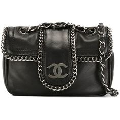 Pre-owned Chanel Vintage mini chain trim shoulder bag (19.420 RON) ❤ liked on Polyvore featuring bags, handbags, shoulder bags, chanel, black, mini handbags, chain shoulder bag, vintage purses, chanel purse and vintage leather purses