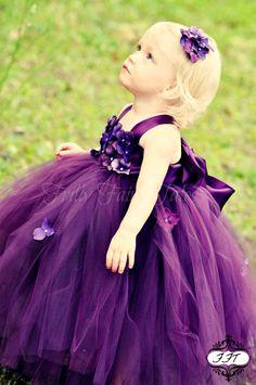 Eggplant / Plum Flower Girl Dress Tutu Dress by FrillyFairyTales Girls Communion Dresses, Girls Pageant Dresses, Girls Party Dress, Wedding Party Dresses, Tutu Dresses, Dress Vestidos, Work Dresses, Plum Flower Girl Dresses, Purple Flower Girls