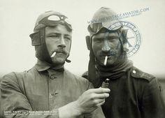 German pilots in flight gear.