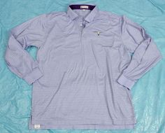 Peter Millar Polo Shirt Mens Sz L Long Sleeve Striped Blue Embroidered Cotton #PeterMillar #PoloRugby