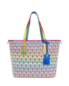 Little Marlborough Rainbow Tote Bag, Multi by Liberty London at Neiman Marcus Diaper Bag Purse, Dad Diaper Bag, Best Diaper Bag, Stylish Backpacks, Lipstick Holder, Canvas Tote Bags, Calf Leather, Calves, Purses