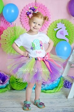 Seahorse Themed Birthday Tutu Outfit, Seahorse Tutu Set, First Birthday Seahorse Party, Under the Sea Birthday Outfit *Bow NOT Included*