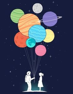 You Are My Universe t-shirt by Lim Heng Swee. Astronaut handing planet balloons to a woman. Threadless