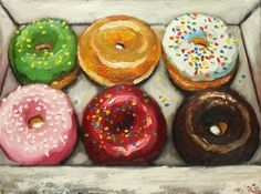 Donuts still life painting 15 18x24 inch original oil by RozArt