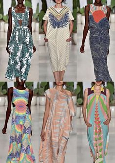 #Fashion Mara Hoffman S/S 15: Tribal Influences – Candy Colour Mixes – Pastel Geometrics – Sun Ray Designs – Stylised Wave Prints – Stitched Tribal Folk Designs – Tropical Foliage Repeats