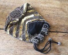Vintage 1930s Silk Sequin Beaded Evening Bag Purse Stripe Gold Black Bride Party