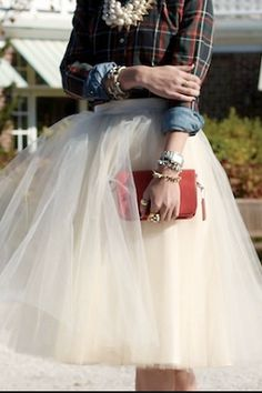 Oh. My goodness. I love the plaid with the tulle skirt!!!>>> what and odd combination!