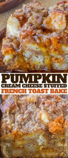 Pumpkin French Toast Bake with cream cheese filling and no overnight chilling an. - Pumpkin French Toast Bake with cream cheese filling and no overnight chilling and is the perfect br - Pumpkin French Toast, French Toast Bake, French Toast Sandwich, Baked Pumpkin, Pumpkin Recipes, Pumpkin Bread, Brunch Recipes With Pumpkin, Breakfast Time, Breakfast Recipes