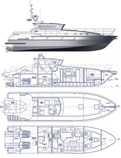 Patrol and rescue boat SeaTech ltd Plywood Boat Plans, Wooden Boat Plans, Yacht Design, Boat Design, Chris Craft Wooden Boats, Duck Blind Plans, Boat Drawing, Boat Building Plans, Deck Plans
