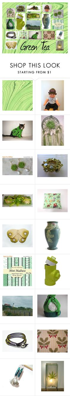 """Green Tea: Vintage and Handmade Gifts"" by paulinemcewen on Polyvore featuring vintage"