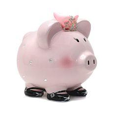 Personalized Large Princess Crown Pink/Black Crystal Piggy Bank Newborns , Birthday,Girls,Flower G Baby Shower Gifts, Baby Gifts, Pig Bank, Personalized Piggy Bank, This Little Piggy, Baby Shower Centerpieces, Black Crystals, Girl Birthday, Hand Painted