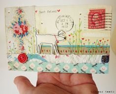 Mail Art by hens teeth Love Mail, Fun Mail, Art Postal, Fabric Postcards, Envelope Art, Postcard Art, Fabric Journals, Letter Art, Letters