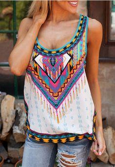 NEW 2017 Summer Fashion Women Sleeveless Casual Loose Tribal Print Blouses Blusas femme Sexy Ladies Boho Beach Tops Shirts Fashion Mode, Fashion 2018, Boho Fashion, Womens Fashion, Fashion Vintage, Style Fashion, Fashion Brand, Cheap Fashion, Latest Fashion
