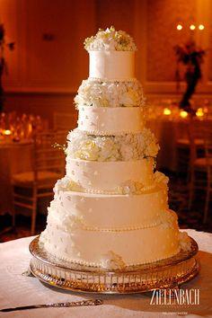 5 Tier Wedding Cake with Real Flowers Incorporated. www.seaisland.com #cake #flowers #seaisland