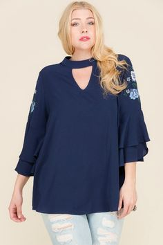 ab0141d5b98 Janette Plus navy blue embroidered bohemian top tiered sleeves JT12976-EM.  By Janette Plus