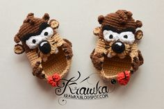 Tasmanian Devil - Baby Booties By Kamila Krawka Krawczyk - Free Crochet Pattern - (ravelry) Crochet Crafts, Crochet Toys, Crochet Projects, Knit Crochet, Free Crochet, Crochet Baby Shoes, Crochet Baby Booties, Crochet Slippers, Ravelry