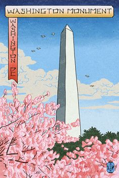 Washington, DC - Washington Monument - Cherry Blossoms (#3) - Woodblock - Lantern Press Artwork