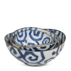 """Geo Nesting Bowls S/3 $32.00 Why have one when you can have three! Our Set of 3 Geo Nesting Bowls has a unique swirled geometric pattern to stand out amongst your basicdish ware. Perfect for cocktail party nibbles!        Set of 3 bowls.        4.25""""D; 5.25""""D; 6.5""""D."""
