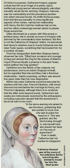This is somehwere down on my board but I'm reposting these because they are interesting! catherine howard scan March 2014 issue of BBC History