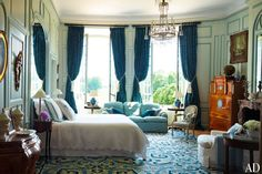 """""""Each room has its own personality and theme and sense of color,"""" says Corrigan. """"This bedroom on the second floor was originally a billiard room. It's another one of my favorite rooms in the château."""""""