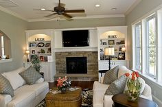 This family room feels very welcoming. Blue Sky Building Company.