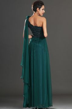 osell wholesale dropship Chiffon Embroider Flower One Shoulder Sleeveless Floor Length A Line Evening Prom Dresses $84.13