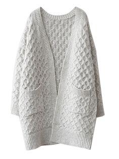 . . Light Gray V-neck Cable Knit Pocket Chunky Cardigan   Choies . .