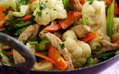 Skinkewok med sommergrønt og ris Alt i en gryde eller wok - det er da nemt.