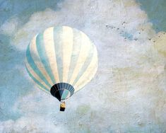 White and blue dreamy hot air balloon stripes, surreal, art for nursery - Above us only sky. $20.00, via Etsy.