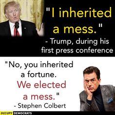 "Colbert on the ""mess"" Trump ""inherited"""