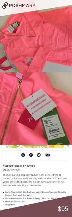 Lilly Pulitzer Skipper Popover Heathered Tiki Pink New with tags attached! Comes with a bag. Purchased in the site - sold out! Size small. This is a neon pink! Soft & beautiful. Lilly Pulitzer Tops Sweatshirts & Hoodies