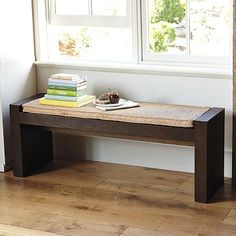Terra Bench  #WestElm - maybe now that he has his workshop set up, he can just make us one for the dining area and mom will make the cushion