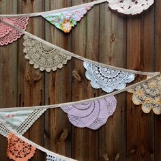 Vintage Doily Wedding Bunting Garland (Grande Cherry Blossom) Handmade Crochet in Pink, Peach, Beige, White and Cream by Daisies Blue on Etsy, $47.96