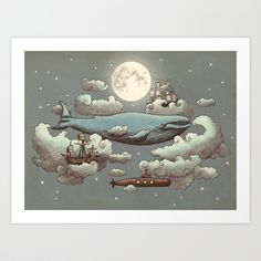 #art #fineart #illustration #digital #animals #flying #moonlight #steampunk #whimsical #submarine #ship #TerryFan #Society6 #S6 #cool #modern #dreams #musthave #artprint #print #decor
