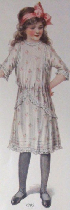 GIRL'S DELICATE SPRING DRESS WITH LACE TRIM  Source of today's featured fashion: Ladies Home Journal  (January, 1913)
